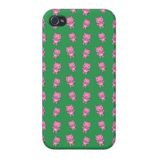 Modelo verde lindo del cerdo iPhone 4/4S fundas