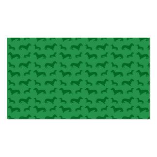 Modelo verde lindo del dachshund tarjetas personales