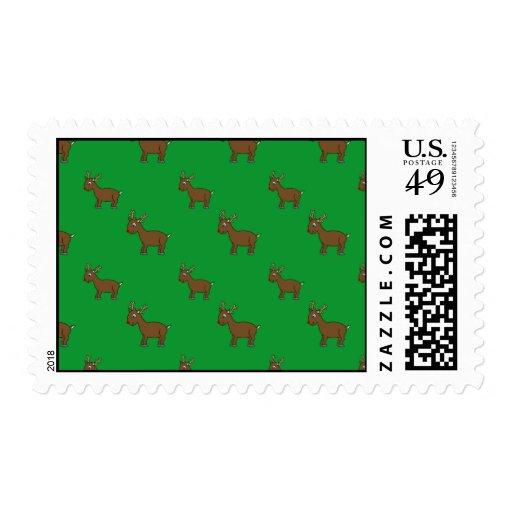 Modelo verde lindo del reno sellos