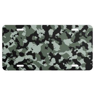 Modelo verde militar del camuflaje placa de matrícula