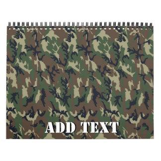 Modelo verde militar del camuflaje calendario