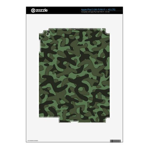 Modelo verde oscuro del camuflaje iPad 3 skins