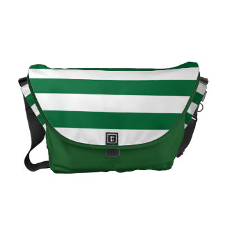 Modelo verde oscuro y blanco de la raya bolsas messenger