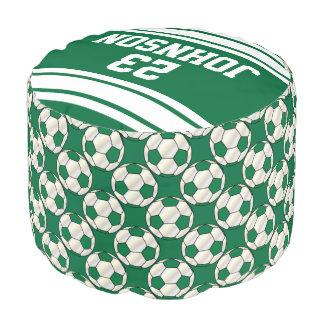 Modelo verde oscuro y blanco del fútbol del puf redondo