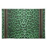 Modelo verde Placemat de la piel del leopardo del Mantel Individual