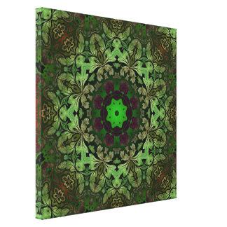 modelo verde punky del damasco del vapor rústico lona envuelta para galerias