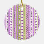 Modelo verde púrpura abstracto + corazón de las fl ornamento para reyes magos