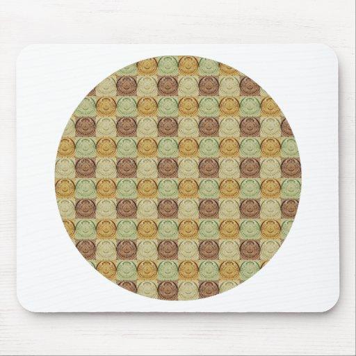 Modelo verde retro del círculo de Brown amarillo d Alfombrillas De Raton