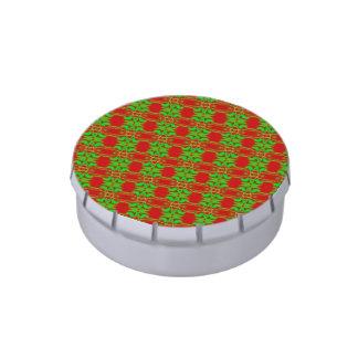 Modelo verde rojo bonito del navidad latas de caramelos