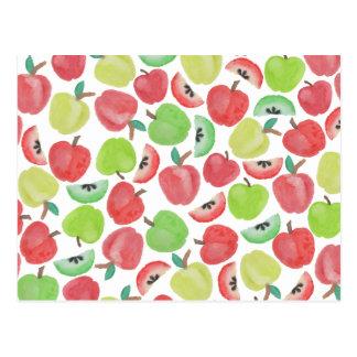Modelo verde rojo de la fruta de las manzanas de tarjetas postales