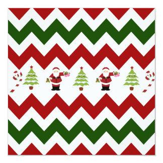 """Modelo verde rojo de Santa Chevron del árbol de Invitación 5.25"""" X 5.25"""""""