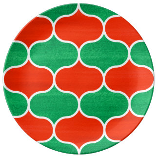 Modelo verde rojo decorativo de Ogee del navidad Plato De Cerámica