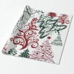 Modelo verde rojo del árbol de navidad del día de
