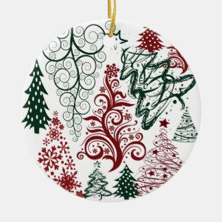 Modelo verde rojo del árbol de navidad del día de adorno navideño redondo de cerámica