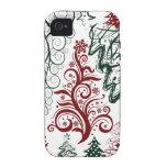 Modelo verde rojo del árbol de navidad del día de Case-Mate iPhone 4 carcasas