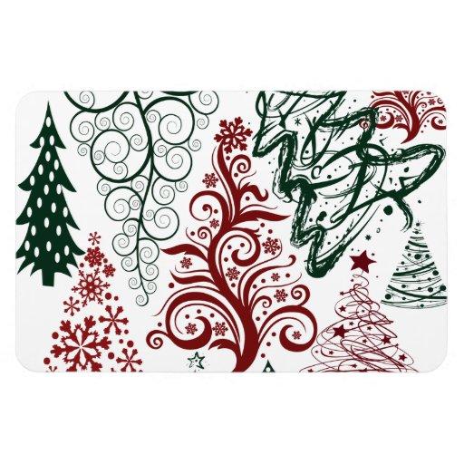 Modelo verde rojo del árbol de navidad del día de  iman flexible