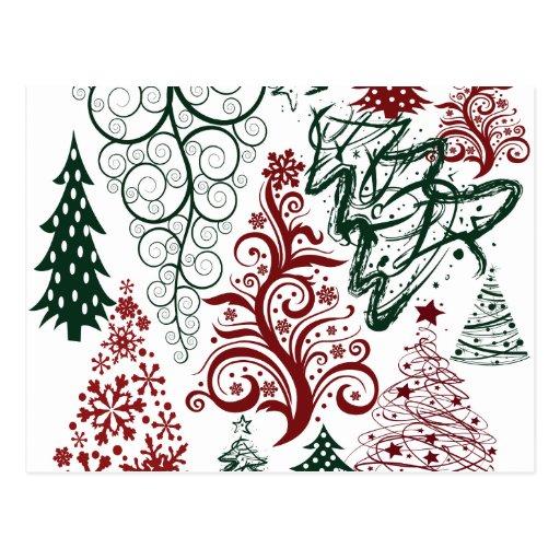 Modelo verde rojo del árbol de navidad del día de postal
