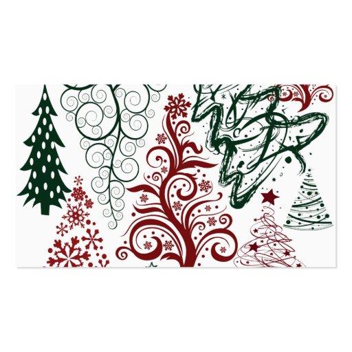 Modelo verde rojo del árbol de navidad del día de  tarjetas personales