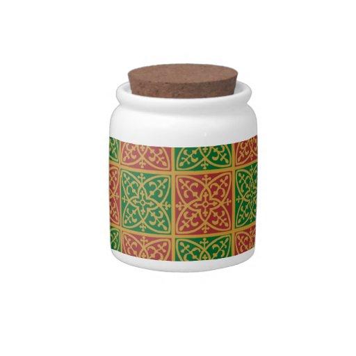 Modelo verde rojo del día de fiesta de la flor de  jarras para caramelos