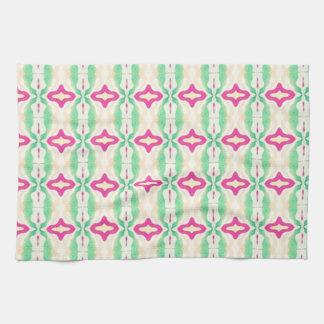 Modelo verde rosado de las cadenas de las rayas toallas de mano