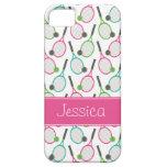 Modelo verde rosado de muy buen gusto del tenis funda para iPhone 5 barely there