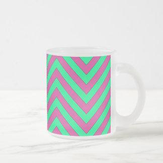 Modelo verde rosado y de menta bonito de Chevron Taza De Café