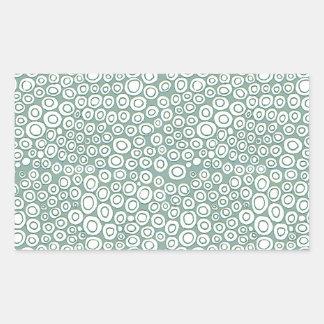 Modelo verde suave de los círculos rectangular pegatinas
