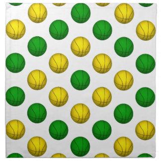 Modelo verde y amarillo del baloncesto servilleta de papel