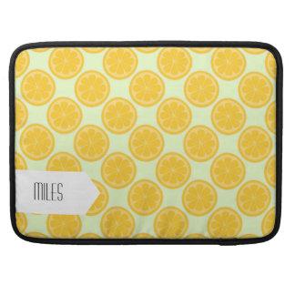 Modelo verde y amarillo del limón funda para macbook pro