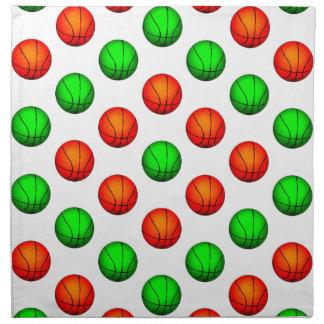 Modelo verde y anaranjado del baloncesto servilletas