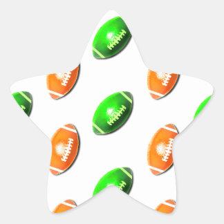 Modelo verde y anaranjado del fútbol pegatina en forma de estrella