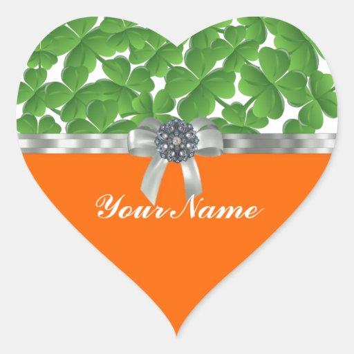 Modelo verde y anaranjado del trébol calcomanías corazones personalizadas
