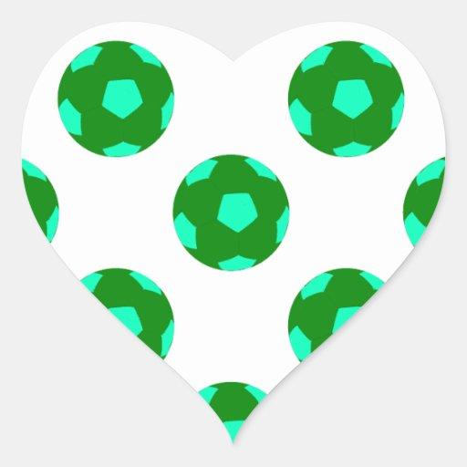 Modelo verde y azul claro del balón de fútbol pegatinas de corazon personalizadas