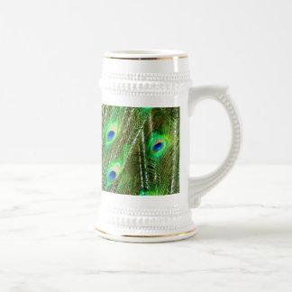 Modelo verde y azul de la pluma del pavo real jarra de cerveza