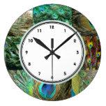 Modelo verde y azul elegante de la pluma del pavo  reloj de pared
