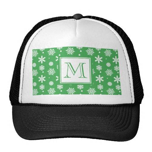 Modelo verde y blanco 1 de los copos de nieve con  gorras