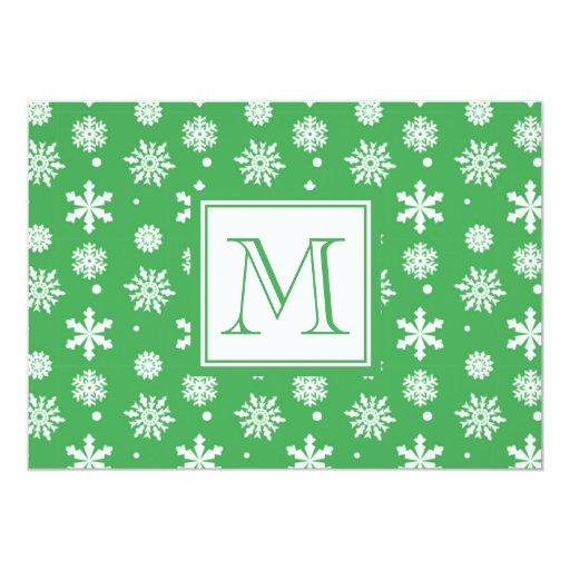 Modelo verde y blanco 1 de los copos de nieve con comunicado personal