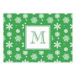 Modelo verde y blanco 1 de los copos de nieve con  tarjetas de visita