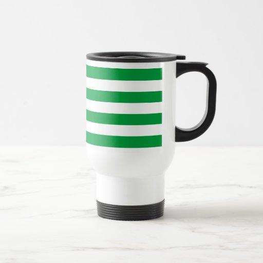 Modelo verde y blanco básico de las rayas taza de viaje de acero inoxidable