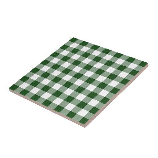 Modelo verde y blanco de la guinga azulejo cuadrado pequeño