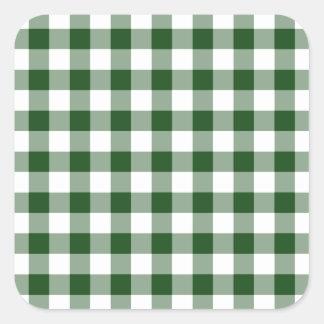 Modelo verde y blanco de la guinga calcomanías cuadradases