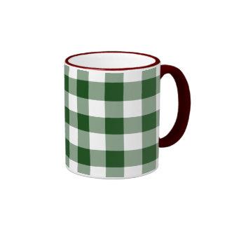 Modelo verde y blanco de la guinga tazas de café