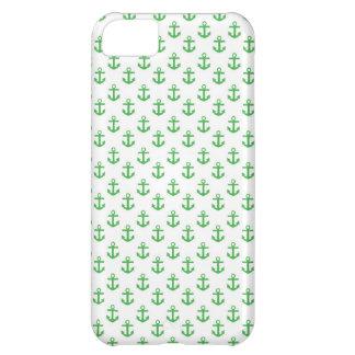 Modelo verde y blanco de las anclas funda para iPhone 5C