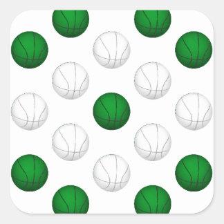 Modelo verde y blanco del baloncesto pegatina cuadrada