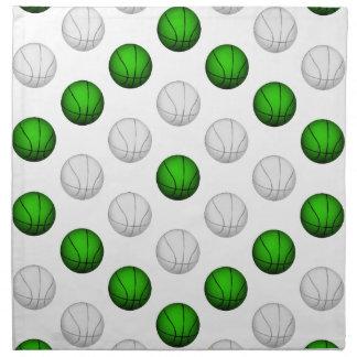 Modelo verde y blanco del baloncesto servilletas imprimidas