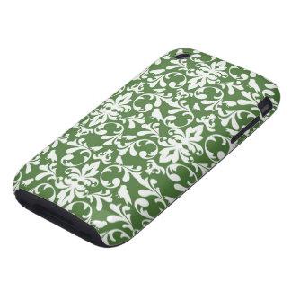 modelo verde y blanco del damasco del pájaro iPhone 3 tough protectores