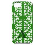 Modelo verde y blanco del damasco iPhone 5 Case-Mate protectores