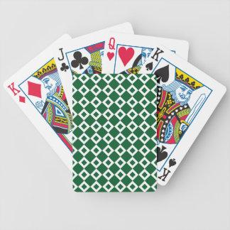 Modelo verde y blanco del diamante baraja de cartas bicycle