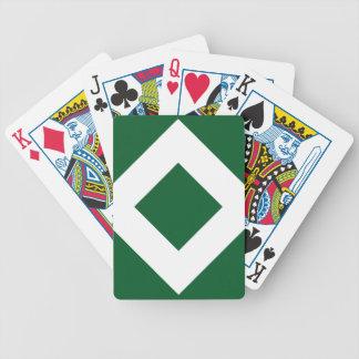 Modelo verde y blanco del diamante baraja cartas de poker