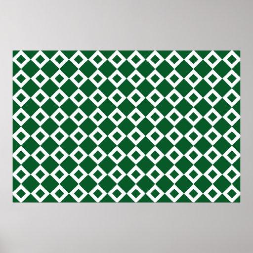Modelo verde y blanco del diamante póster